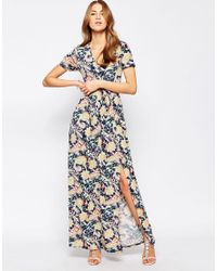 Club L | Maxi Dress With Front Split In Floral Tile Print | Lyst
