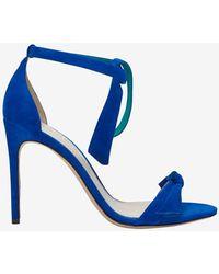 Alexandre Birman Knotted Strap Suede Stiletto Sandal Cobalt - Lyst