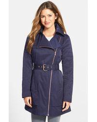 Guess Women'S Asymmetrical Zip Trench Coat - Lyst