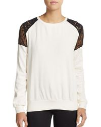 French Connection Lace Shoulder Honeycomb Jacquard Top - Lyst
