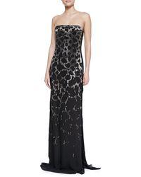 Roberto Cavalli Strapless Embellished Leopard Gown - Lyst