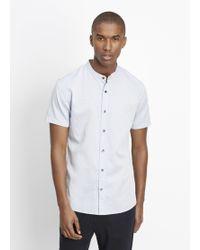 Vince | Melrose Mélange Banded Collar Short Sleeve Button Up | Lyst