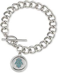 Carolee - Silver-Tone Hamsa Hand Toggle Charm Bracelet - Lyst