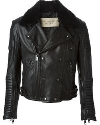 Burberry Brit Trimmed Collar Biker Jacket - Lyst