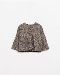 Zara Silver Sequinned Jacket - Lyst