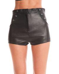 Balmain Leather Moto Shorts black - Lyst