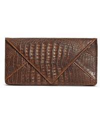 Armenta - Crocodile Envelope Clutch Bag Brown - Lyst