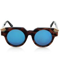 House of Holland Fister Leopard-Print Sunglasses blue - Lyst