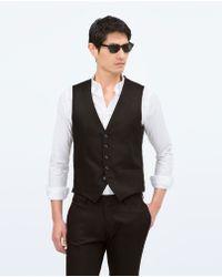 Zara Suit Waistcoat black - Lyst