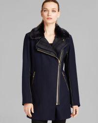 Sam Edelman Coat  Leah Moto Faux Fur Collar Wool - Lyst