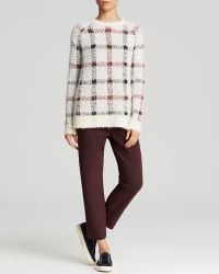 Theory Innis Plaid Textured-Knit Sweater white - Lyst