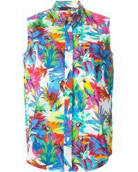 Love Moschino Tropical Print Sleeveless Shirt - Lyst