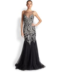 Badgley Mischka Sequin & Tulle Gown silver - Lyst