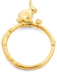 Alex Monroe - Sitting Bunny Ring With Set Diamond - Lyst