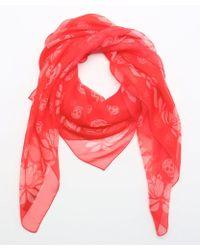 Alexander McQueen Red Woven Silk Scarf - Lyst