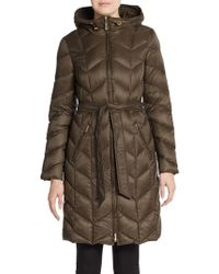 Ellen Tracy - Chevron Quilted Down Puffer Coat - Lyst