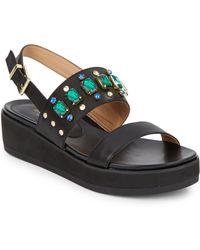 d3ec8a8dab3267 Isaac Mizrahi New York - Bling Jewel-Detail Platform Wedge Leather Sandals  - Lyst