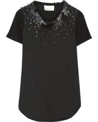 3.1 Phillip Lim Embellished Cottonjersey and Silkgeorgette Top - Lyst