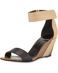 Pierre Hardy Tricolor Leather Wedge Sandal - Lyst