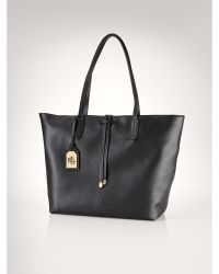Ralph Lauren Two-Toned Leather Tote - Lyst