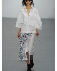 Eudon Choi - Goodwin Skirt In White/navy Stripe - Lyst