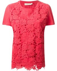 Tory Burch Cut-Out Floral Top - Lyst