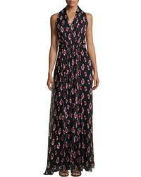 Carolina Herrera Sleeveless Halter-Neck Printed Gown - Lyst