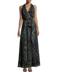 Halston Heritage Striated Chiffon Halter Maxi Dress - Lyst