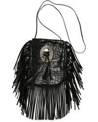 Saint Laurent - Anita Croc-stamped Fringe Crossbody Bag - Lyst