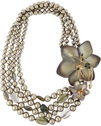 Alexis Bittar Pearly-Strand Lucite Flower Statement Necklace - Lyst