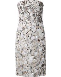 J. Mendel Embellished Strapless Dress - Lyst