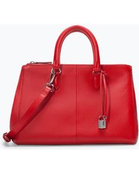 Zara Leather City Bag with Zips - Lyst