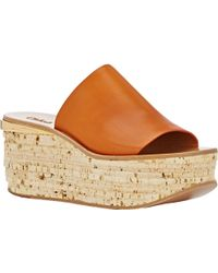 Chloé Plated Cork Platform Sandals - Lyst