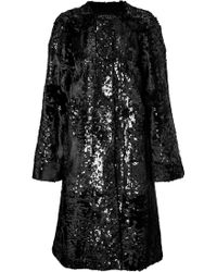 Giambattista Valli Sequin Embellished Lamb Fur Coat - Lyst
