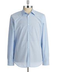 Calvin Klein Blue Striped Sportshirt - Lyst