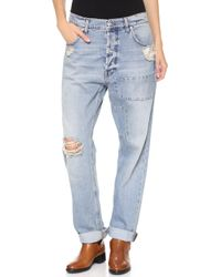 McQ by Alexander McQueen Patched Boyfriend Jeans Distressed Indigo - Lyst