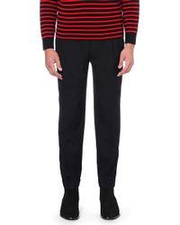 Saint Laurent Tapered Wool Trousers Black - Lyst