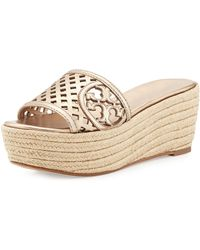 Tory Burch Lattice Perforated Wedge Slide - Lyst