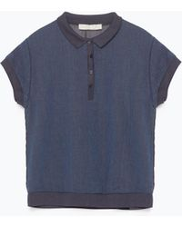 Zara Georgette Back Indigo Polo Shirt - Lyst