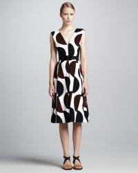 Marni Dot-print Tea-length Dress - Lyst