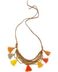 Serefina - Beaded Tassel Necklace Citrus - Lyst