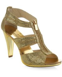 MICHAEL Michael Kors Berkley Glitter Zip Sandal - Lyst