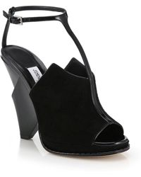 Jimmy Choo Suede & Leather Geometric Sandals black - Lyst
