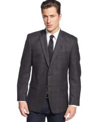 Calvin Klein Charcoal Windowpane with Wine Deco Sport Coat - Lyst