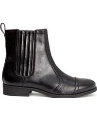 H&M Black Brogue-Patterned Boots - Lyst
