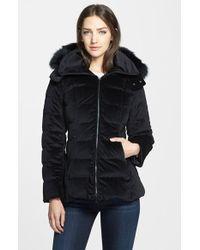 Trina Turk 'Emma' Genuine Fox Fur Trim Hooded Velour Down Jacket - Lyst