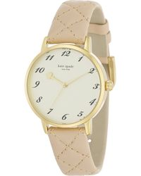 Kate Spade Metro Goldtone Stainless Steel & Quilted Leather Strap Watch/Tan gold - Lyst
