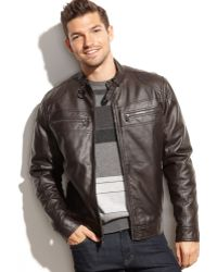 Michael Kors Michael Faux Leather Moto Jacket - Lyst
