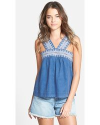 Madewell Embroidered Linen & Cotton Tank blue - Lyst