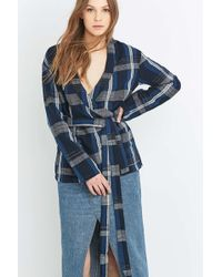 Kings Of Indigo - Blue Plaid Wrap Blouse - Lyst